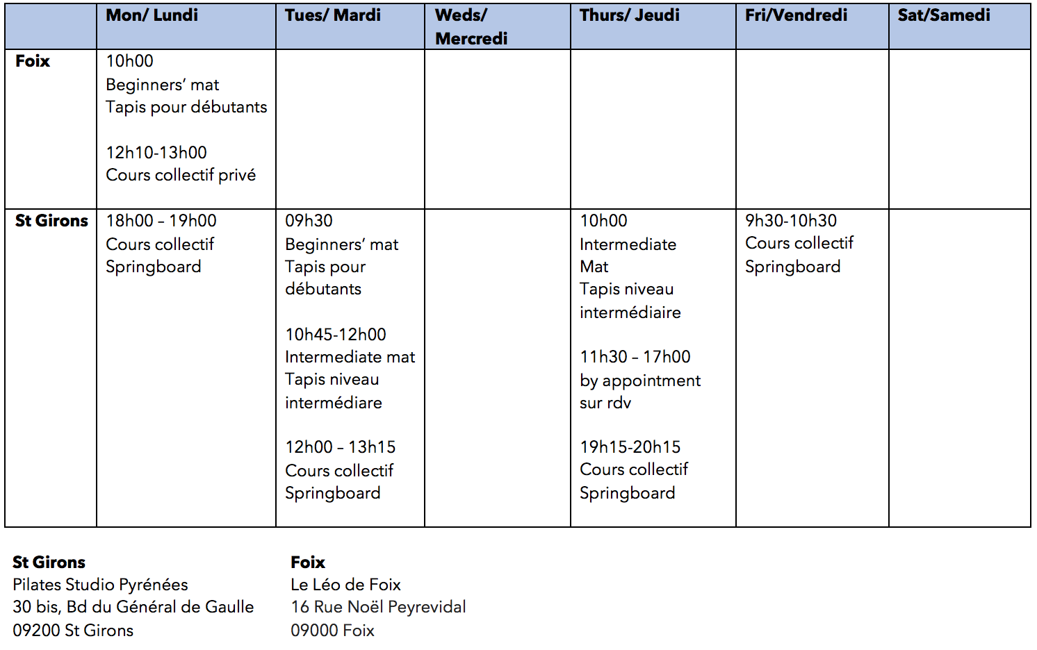 timetable sept 2018